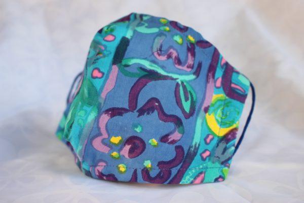 side view turquoise batik Facemask