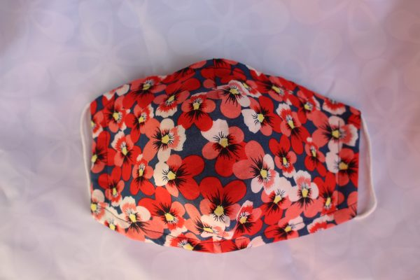 Red Pansy Triple Layer Face Mask