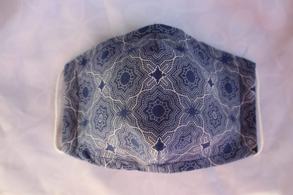 blue mosaic double layer face mask