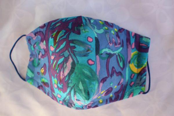 Turquoise Batik Face mask
