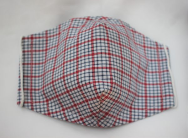 red blue check triple layer face mask adult large