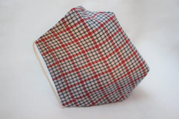 red blue check triple layer face mask large -side