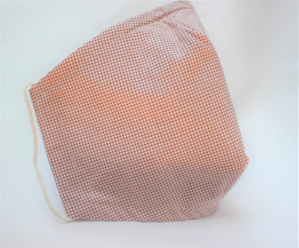 red cream mini check face mask large - side