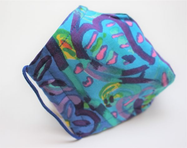 small turquoise 90s batik triple layer face mask side
