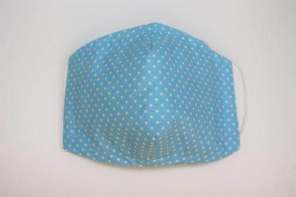 Small aqua blue polka dot triple layer face mask