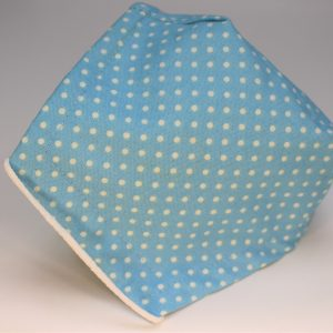 Small aqua blue polka dot triple layer face mask - side