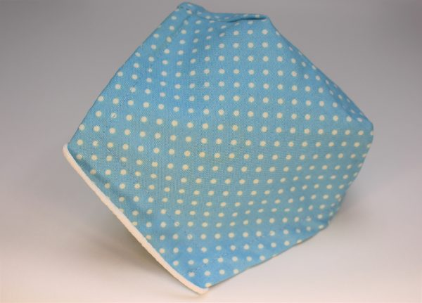 Small aqua blue polka dot triple layer face mask - side