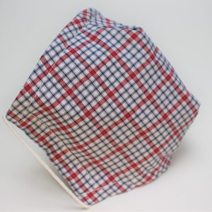 red blue check triple layer face mask small - side