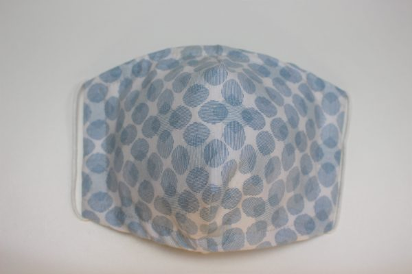 blue grey oval spot triple layer face mask adult small