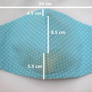large aqua polka dot face mask dimensions