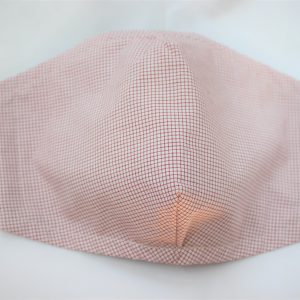 red cream mini check triple layer face mask adult large
