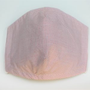 red cream mini check triple layer face mask adult small