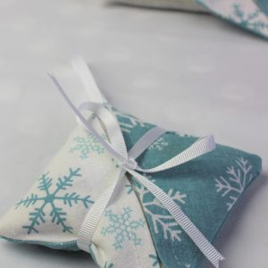 teal white contract snowflake lavender bag side