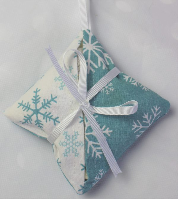 teal white contract snowflake lavender bag