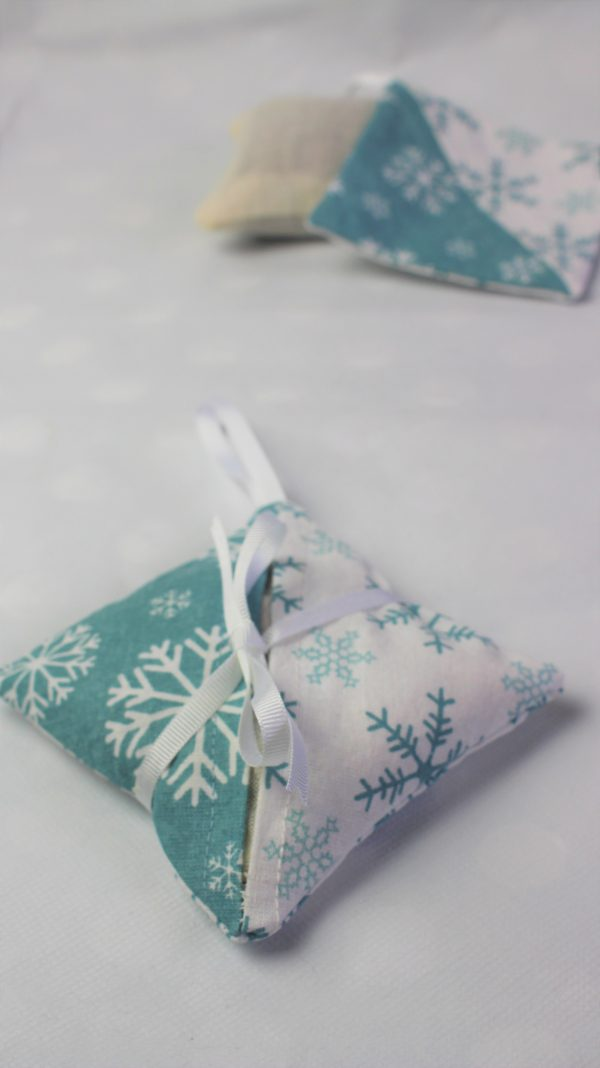 white teal snowflake lavender bag side