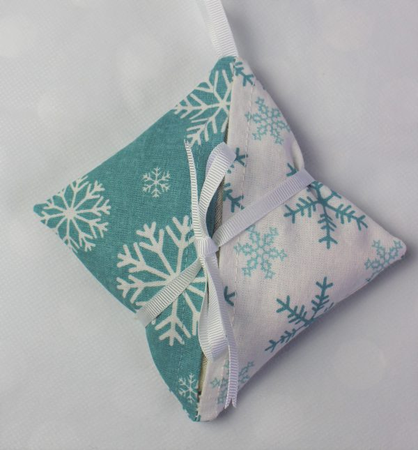 white teal snowflake lavender bag