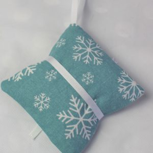 teal white contract snowflake lavender bag back