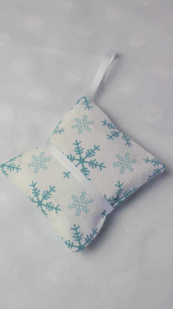 white teal snowflake lavender bag back