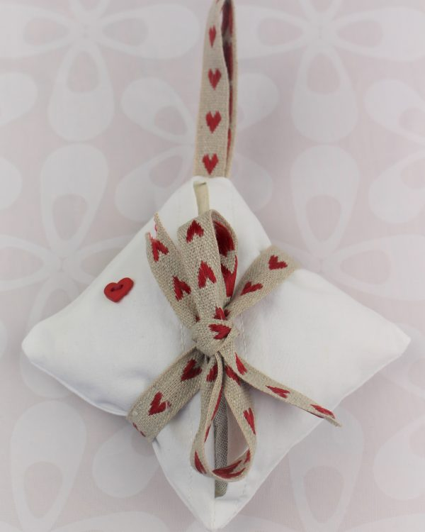 lavender bag love heart red button